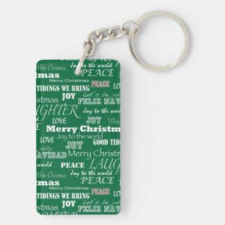 Christmas Sayings Typography Keychain