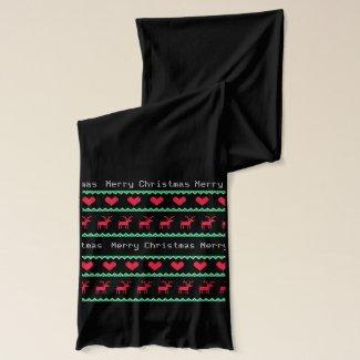 Christmas Scarf Nordic Print Merry Christmas