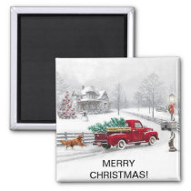 Christmas Scene on a Square Magnet