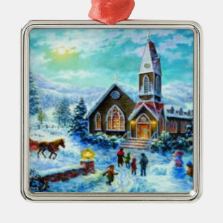 christmas scene ornament