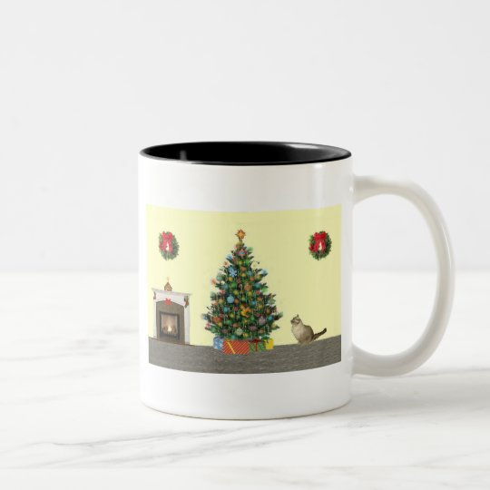 Christmas scene Two-Tone coffee mug