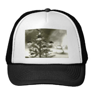 christmas scene winter night trucker hat