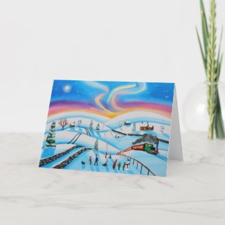 Christmas scene winter northern lights holiday card