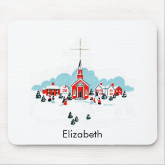 Christmas Scene with a Red Church and Star Above Mouse Pad