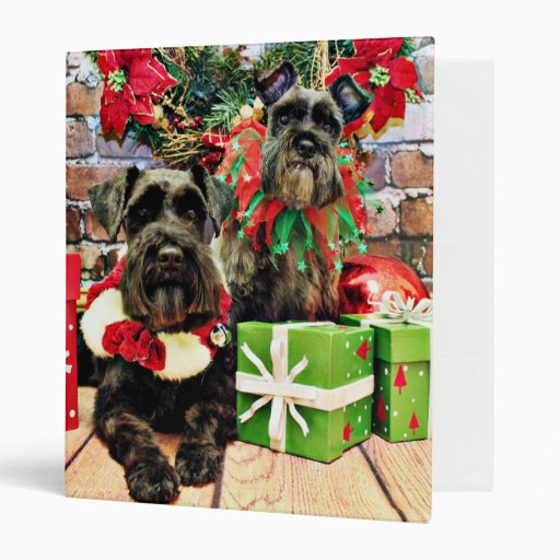Christmas - Schnauzer - Fergie and Fenway Vinyl Binders