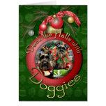 Christmas - Schnauzer - Fergie and Fenway Greeting Card