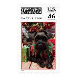 Christmas - Schnauzer Mix - Bentley Postage Stamp