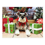 Christmas - Schnauzer - Petunia Postcard