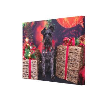 Christmas - Schnauzer - Sophie Stretched Canvas Prints