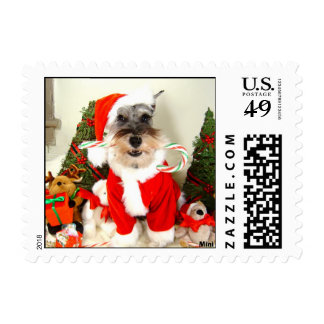 Christmas Schnauzer Stamp