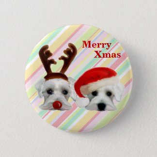 Christmas Schnauzers Pinback Button