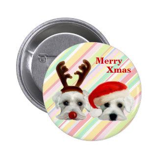 Christmas Schnauzers Pinback Button