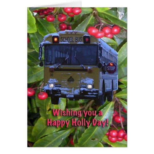Christmas School Bus Greeting Card. Card
