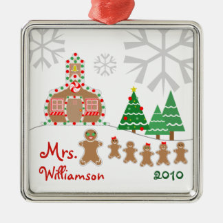 Christmas Schoolhouse Scene - Gingerbread Teacher Metal Ornament