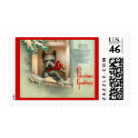 Christmas Scottie Dog in a Window Red & Black Stamp