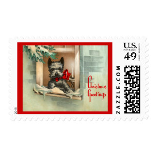 Christmas Scottie Dog in a Window Red & Black Postage Stamp