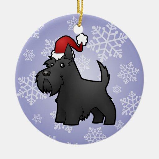 Christmas Scottish Terrier Ceramic Ornament