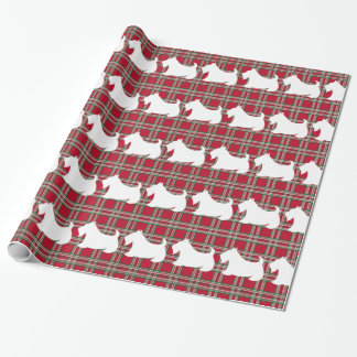 Christmas Scottish Terrier Plaid Wrapping Paper