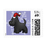 Christmas Scottish Terrier Postage Stamps