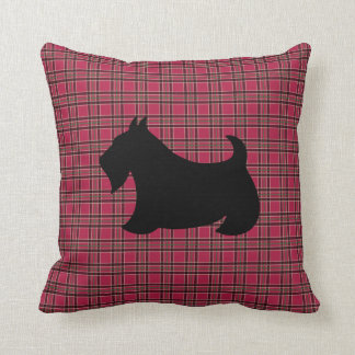 Christmas Scottish Terrier Scotty Dog Plaid Pillow