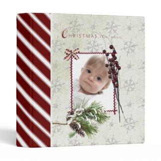 christmas scrapbook/ photo album. vinyl binders