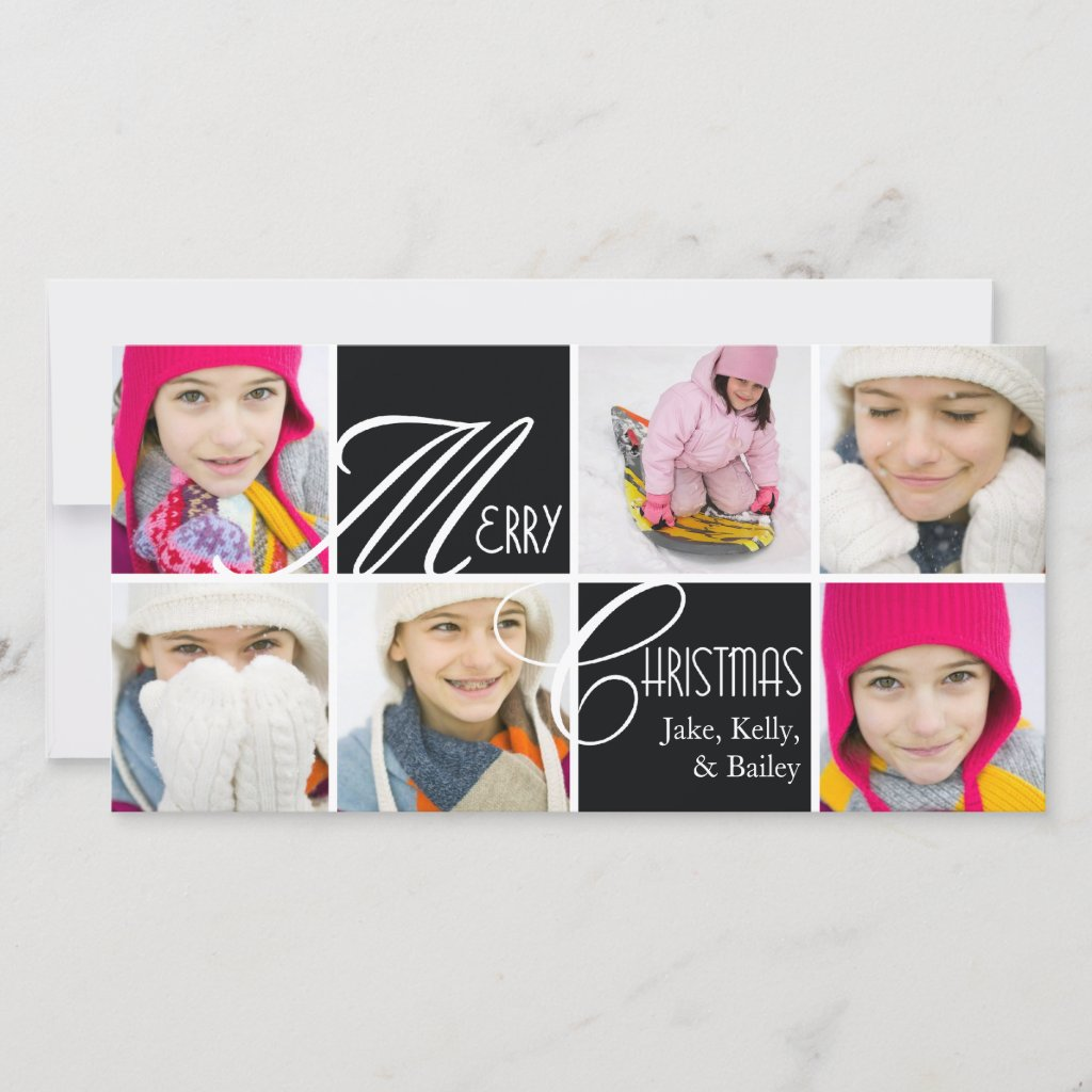 Christmas Script Collage in Black Greeting Card