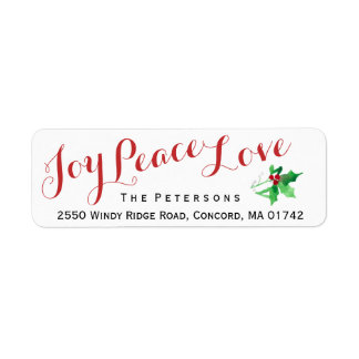 Christmas Script Joy Peace Love Holly Custom Label