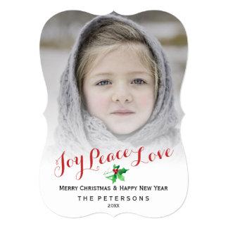 Christmas Script Joy Peace Love Holly Photo Card