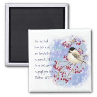Christmas Scripture Chickadee Snowy Berry Refrigerator Magnet