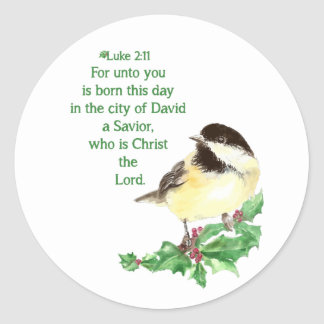Christmas Scripture Luke 2:11 Chickadee Holly art Classic Round Sticker