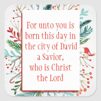 Christmas Scripture Luke 2:11 Watercolor Floral Square Sticker