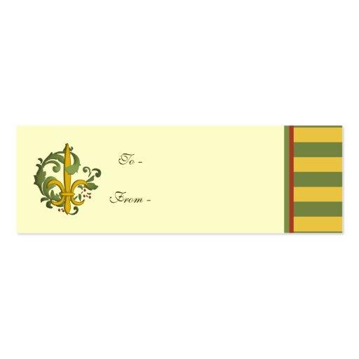 Christmas Scroll Fleur de lis Business Card Template