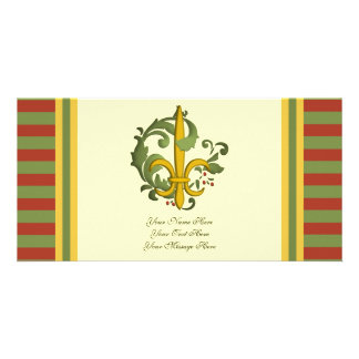 Christmas Scroll Fleur de lis Card