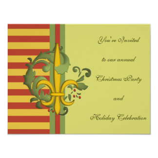 Christmas Scroll Fleur de lis Invitation