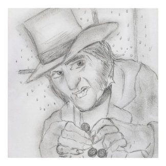 Christmas - Scrooge in Black and white Panel Wall Art
