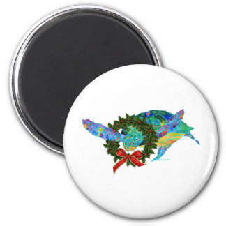 Christmas Sea Turtle 2 Inch Round Magnet