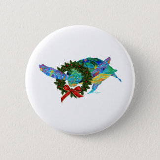 Christmas Sea Turtle Pinback Button