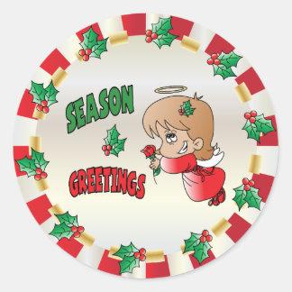 Christmas Season Greeting Angel Girl Classic Round Sticker