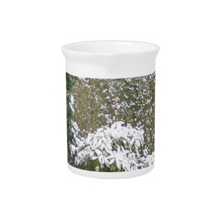 Christmas Season, Snow in the garden Beverage Pitcher