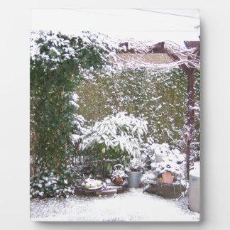 Christmas Season, Snow in the garden Plaque