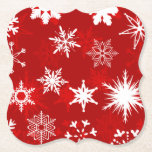 """Christmas season snowflakes paper coaster<br><div class=""""desc"""">Disposable coasters for the holiday season. These feature a red and white snowflake design on them. Great for Christmas parties and events.</div>"""