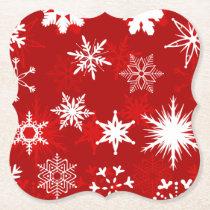 Christmas season snowflakes paper coaster