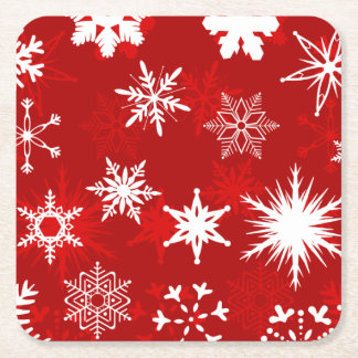 Christmas season snowflakes square paper coaster