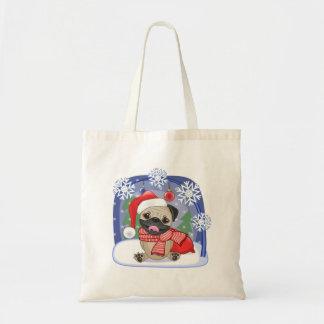 Christmas Season Winter Pug Tote Bag