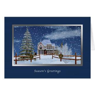 Christmas, Season's Greetings, Snowy Winter Scene Card