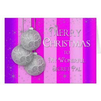 Christmas - Secret Pal -Silver Balls-Pink/Purple Card