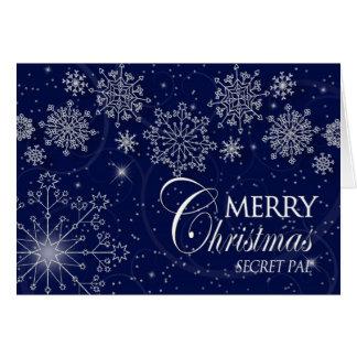 CHRISTMAS - SECRET PAL - SNOWFLAKES/NAVY CARD