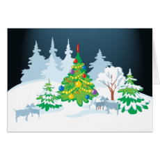 Christmas Serene Goats at Night Card
