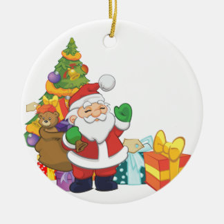 Christmas Setting with Santa Clause Ceramic Ornament