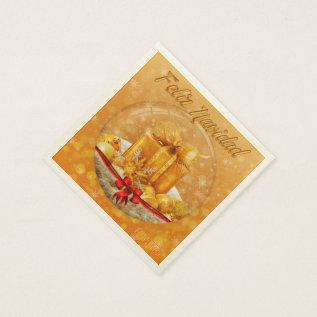 Christmas Sevilletas Golden Gift Paper Napkin at Zazzle